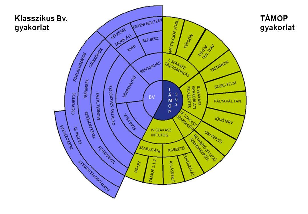 BÜNTETÉS-VÉGREHAJTÁS ORSZÁGOS PARANCSNOKSÁGA Innovatív elemek Strukturált tevékenységsorozat - Projekt egyes elemeinek összekapcsolása (megismerés, készségfejlesztés, szakképzés, szabadulásra felkészítés) Optimális feltételek - Új státuszok kialakítása (reintegrációs tanácsadó, utógondozó koordinátor, Bv.
