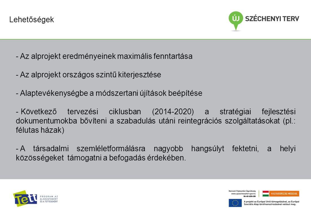 Lehetőségek - Az alprojekt eredményeinek maximális fenntartása - Az alprojekt országos szintű kiterjesztése - Alaptevékenységbe a módszertani újítások beépítése - Következő tervezési ciklusban (2014-2020) a stratégiai fejlesztési dokumentumokba bővíteni a szabadulás utáni reintegrációs szolgáltatásokat (pl.: félutas házak) - A társadalmi szemléletformálásra nagyobb hangsúlyt fektetni, a helyi közösségeket támogatni a befogadás érdekében.