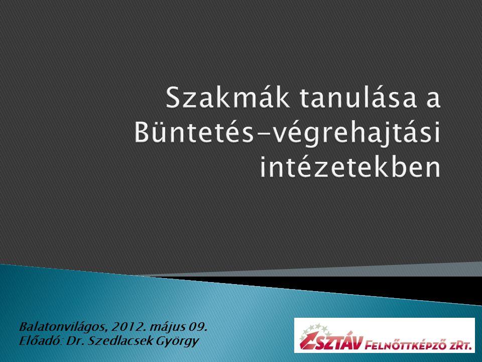 Balatonvilágos, 2012. május 09. Előadó: Dr. Szedlacsek György 1