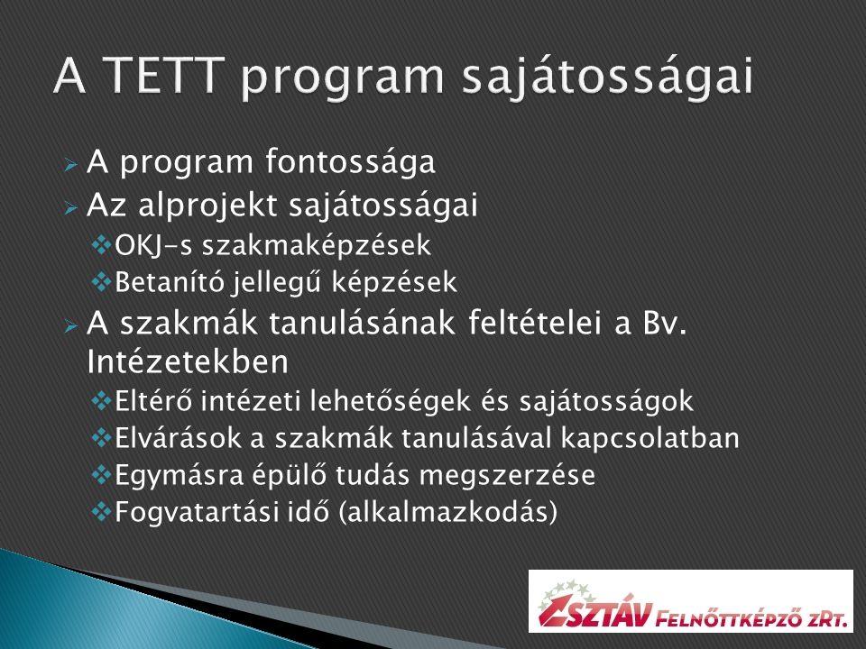  A program fontossága  Az alprojekt sajátosságai  OKJ-s szakmaképzések  Betanító jellegű képzések  A szakmák tanulásának feltételei a Bv.