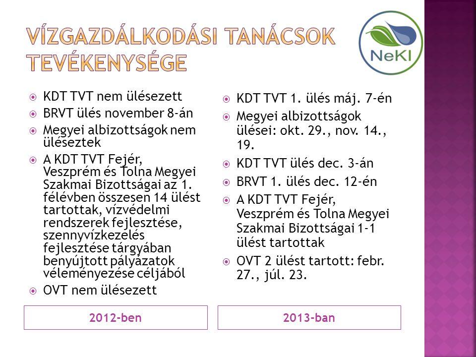 2012-ben2013-ban  KDT TVT nem ülésezett  BRVT ülés november 8-án  Megyei albizottságok nem üléseztek  A KDT TVT Fejér, Veszprém és Tolna Megyei Sz