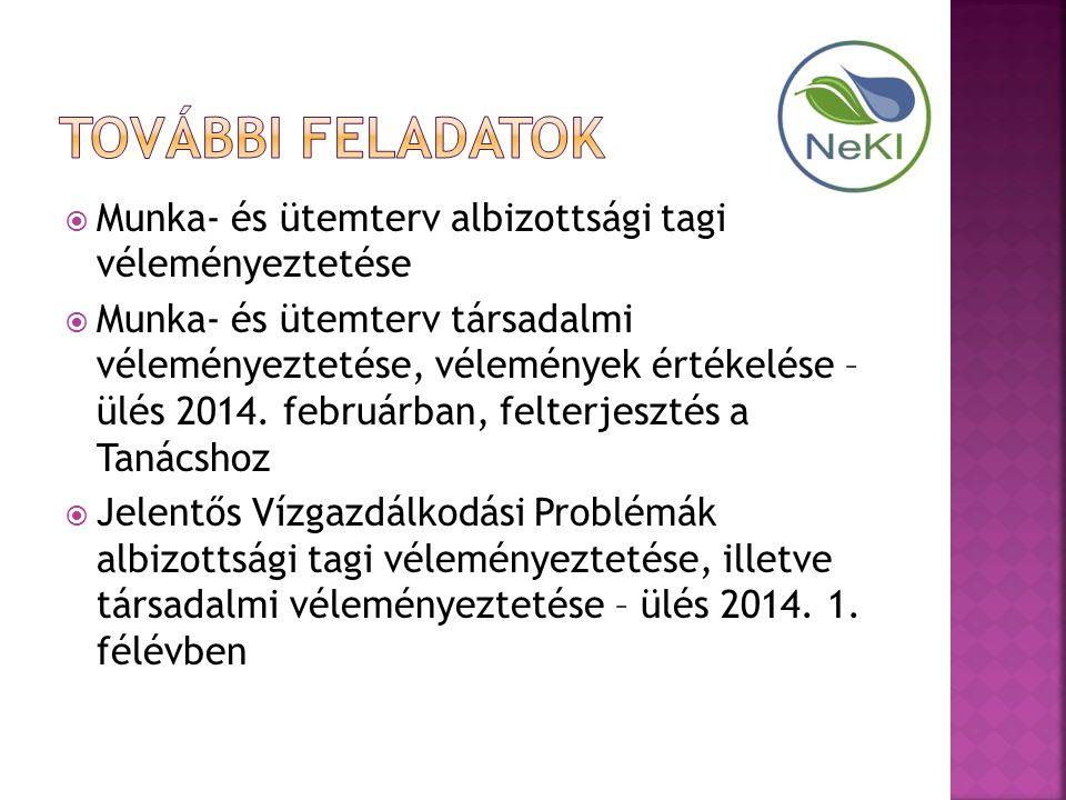  Munka- és ütemterv albizottsági tagi véleményeztetése  Munka- és ütemterv társadalmi véleményeztetése, vélemények értékelése – ülés 2014.