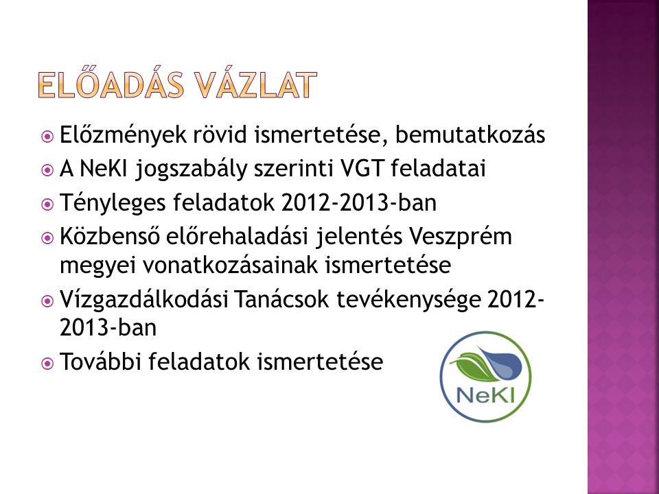  Előzmények rövid ismertetése, bemutatkozás  A NeKI jogszabály szerinti VGT feladatai  Tényleges feladatok 2012-2013-ban  Közbenső előrehaladási jelentés Veszprém megyei vonatkozásainak ismertetése  Vízgazdálkodási Tanácsok tevékenysége 2012- 2013-ban  További feladatok ismertetése