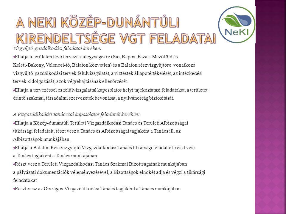 Vízgyűjtő-gazdálkodási feladatai körében:  Ellátja a területén lévő tervezési alegységekre (Sió, Kapos, Észak-Mezőföld és Keleti-Bakony, Velencei-tó, Balaton közvetlen) és a Balaton részvízgyűjtőre vonatkozó vízgyűjtő-gazdálkodási tervek felülvizsgálatát, a víztestek állapotértékelését, az intézkedési tervek kidolgozását, azok végrehajtásának ellenőrzését.