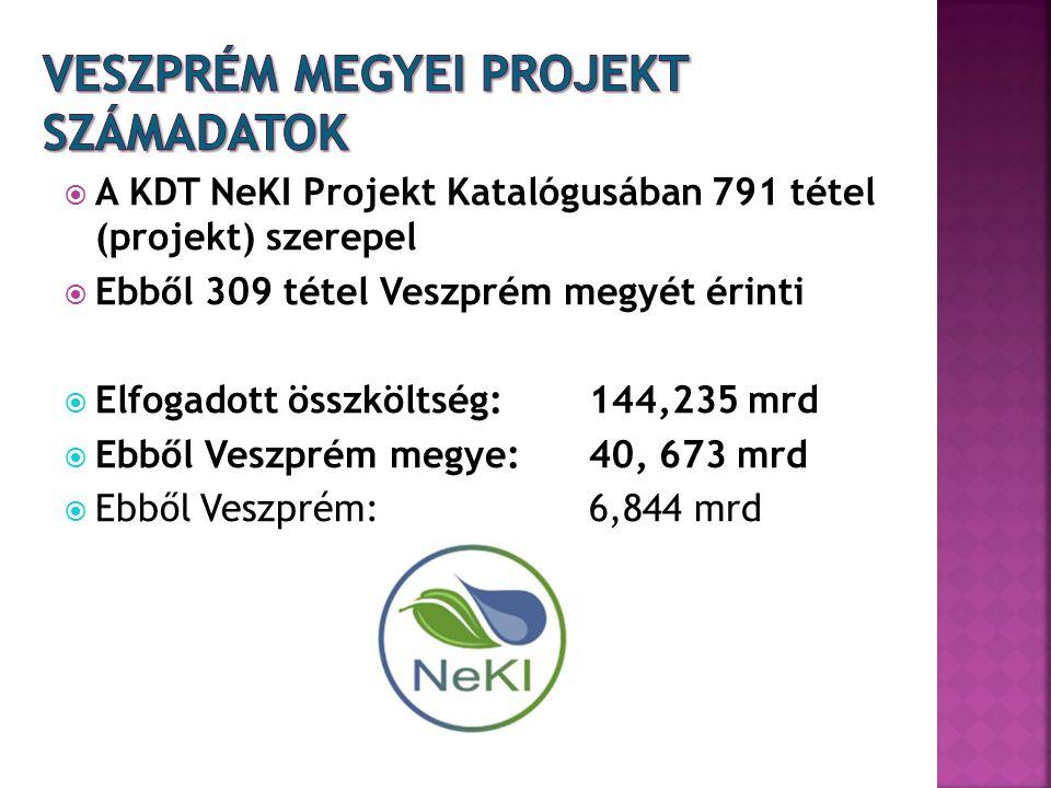  A KDT NeKI Projekt Katalógusában 791 tétel (projekt) szerepel  Ebből 309 tétel Veszprém megyét érinti  Elfogadott összköltség: 144,235 mrd  Ebből Veszprém megye: 40, 673 mrd  Ebből Veszprém: 6,844 mrd