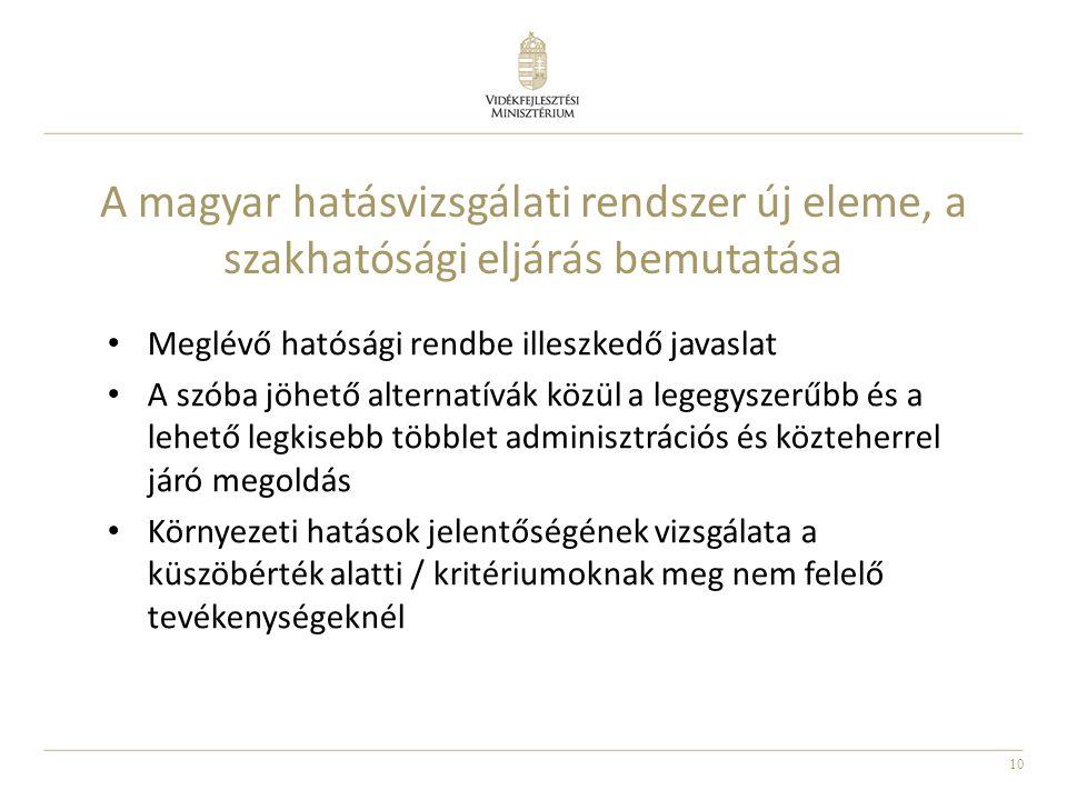 10 A magyar hatásvizsgálati rendszer új eleme, a szakhatósági eljárás bemutatása Meglévő hatósági rendbe illeszkedő javaslat A szóba jöhető alternatív