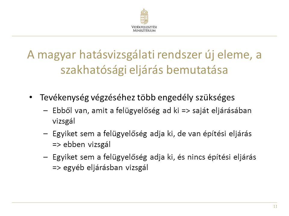 11 A magyar hatásvizsgálati rendszer új eleme, a szakhatósági eljárás bemutatása Tevékenység végzéséhez több engedély szükséges –Ebből van, amit a fel