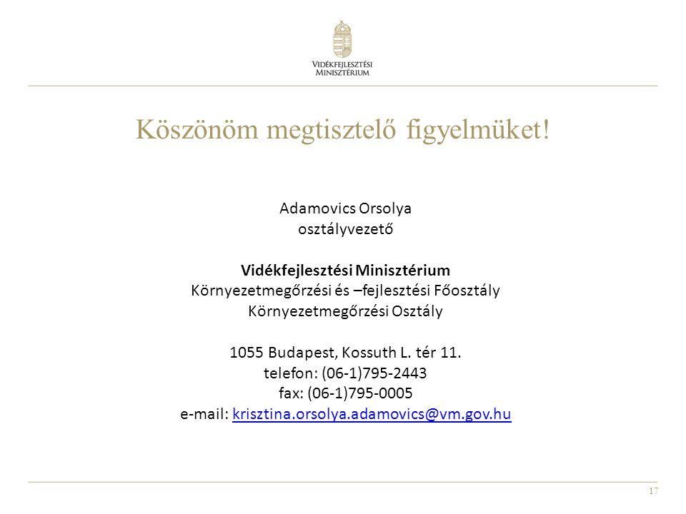 17 Adamovics Orsolya osztályvezető Vidékfejlesztési Minisztérium Környezetmegőrzési és –fejlesztési Főosztály Környezetmegőrzési Osztály 1055 Budapest