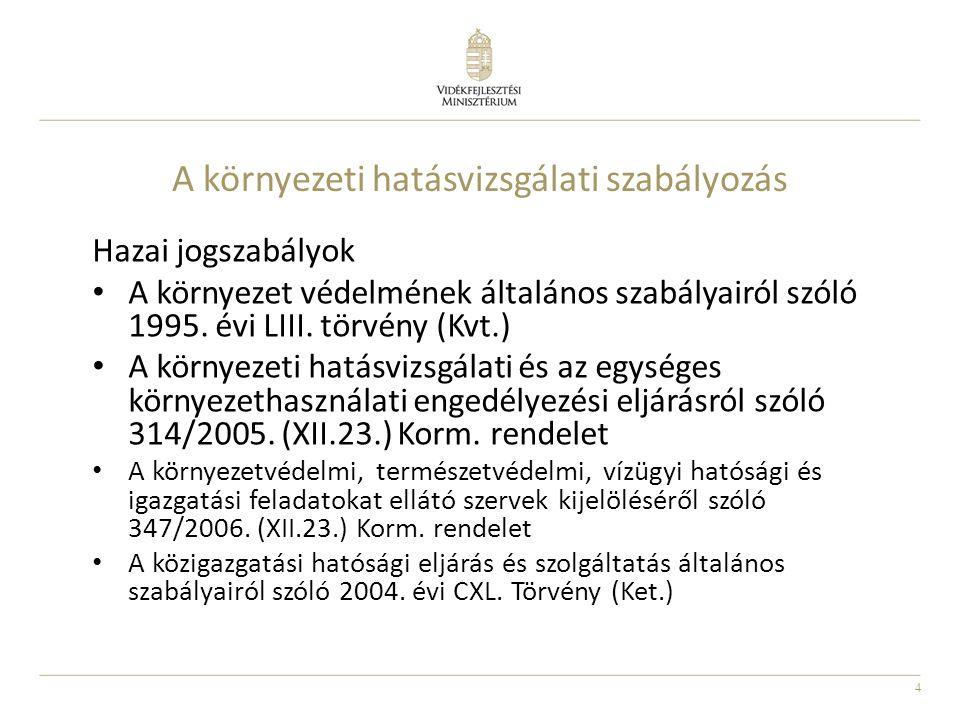4 A környezeti hatásvizsgálati szabályozás Hazai jogszabályok A környezet védelmének általános szabályairól szóló 1995. évi LIII. törvény (Kvt.) A kör