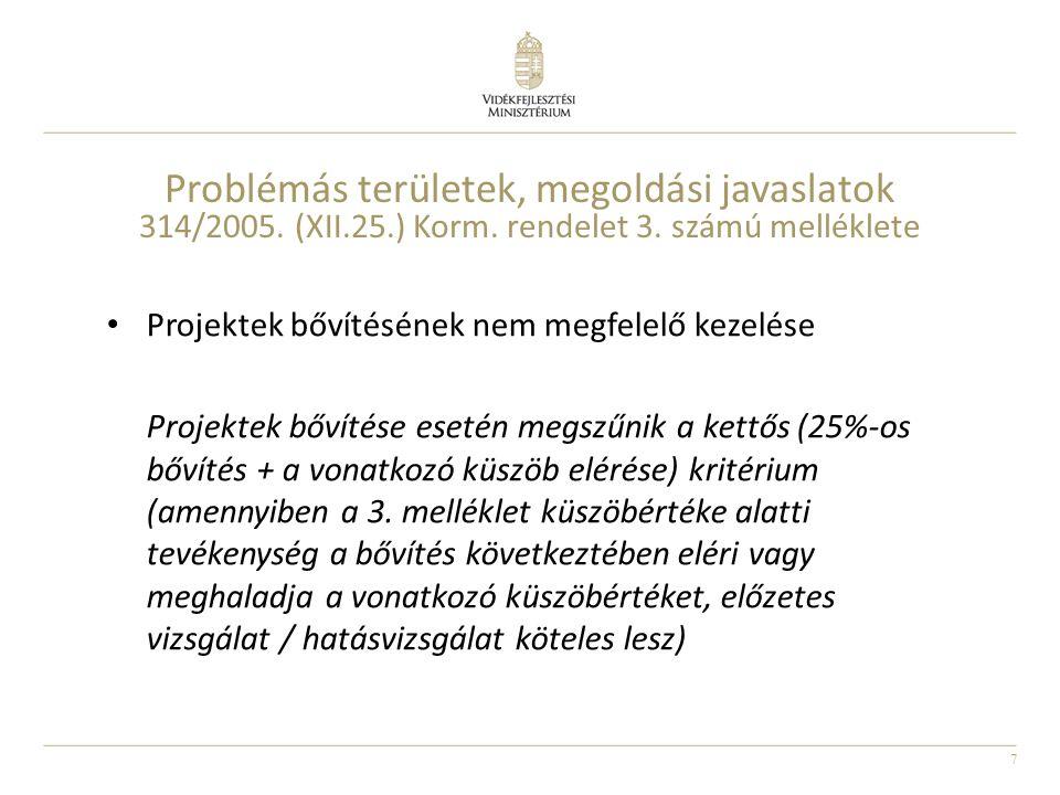 7 Problémás területek, megoldási javaslatok 314/2005. (XII.25.) Korm. rendelet 3. számú melléklete Projektek bővítésének nem megfelelő kezelése Projek