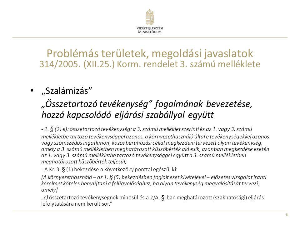"""8 Problémás területek, megoldási javaslatok 314/2005. (XII.25.) Korm. rendelet 3. számú melléklete """"Szalámizás"""" """"Összetartozó tevékenység"""" fogalmának"""