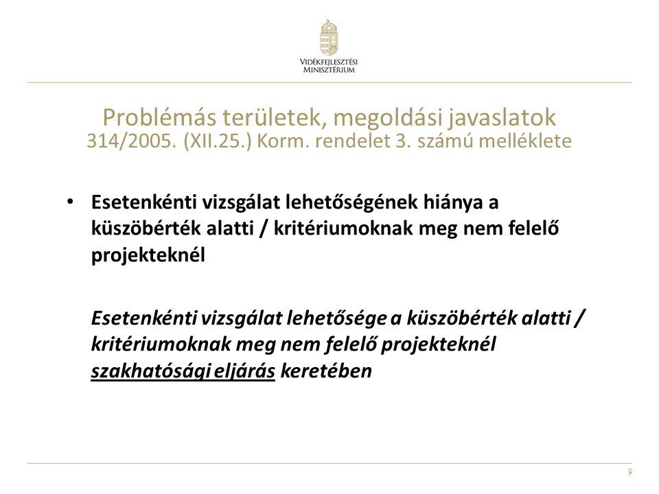 9 Problémás területek, megoldási javaslatok 314/2005. (XII.25.) Korm. rendelet 3. számú melléklete Esetenkénti vizsgálat lehetőségének hiánya a küszöb