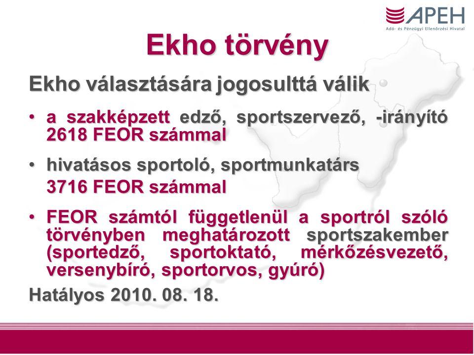 26 Ekho törvény Ekho választására jogosulttá válik a szakképzett edző, sportszervező, -irányító 2618 FEOR számmala szakképzett edző, sportszervező, -irányító 2618 FEOR számmal hivatásos sportoló, sportmunkatárshivatásos sportoló, sportmunkatárs 3716 FEOR számmal FEOR számtól függetlenül a sportról szóló törvényben meghatározott sportszakember (sportedző, sportoktató, mérkőzésvezető, versenybíró, sportorvos, gyúró)FEOR számtól függetlenül a sportról szóló törvényben meghatározott sportszakember (sportedző, sportoktató, mérkőzésvezető, versenybíró, sportorvos, gyúró) Hatályos 2010.
