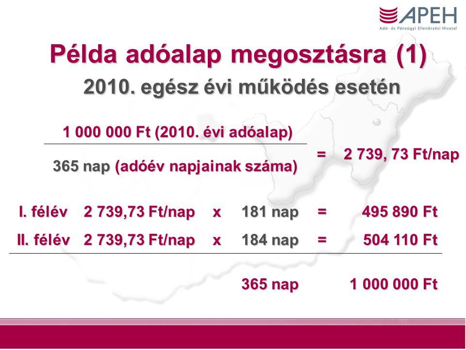 5 Példa adóalap megosztásra (1) 2010. egész évi működés esetén I.