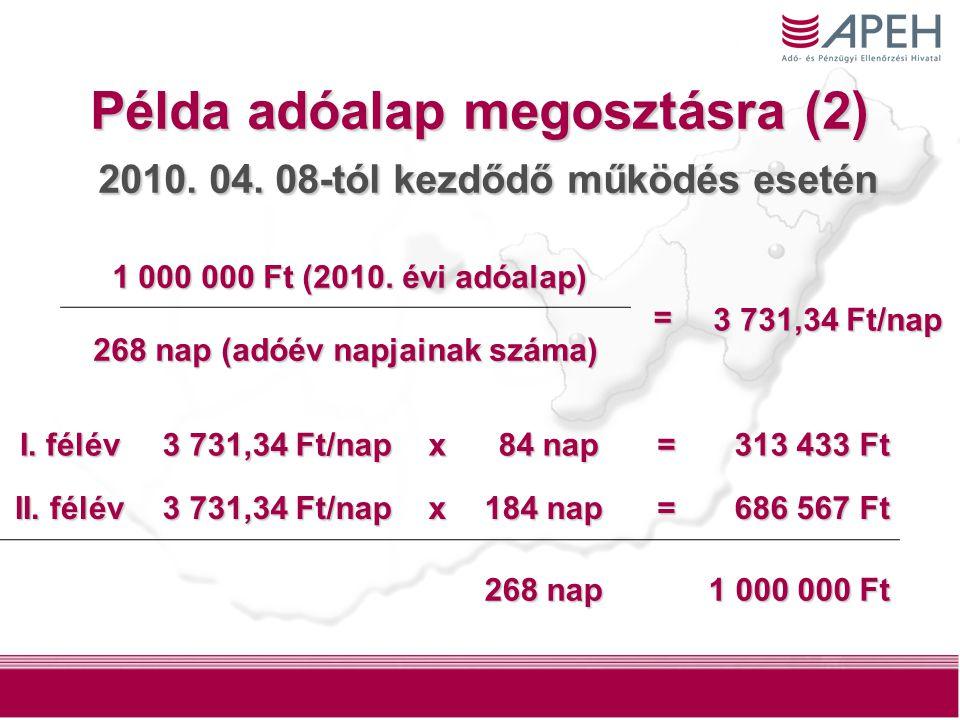 6 Példa adóalap megosztásra (2) 2010. 04. 08-tól kezdődő működés esetén 1 000 000 Ft (2010.