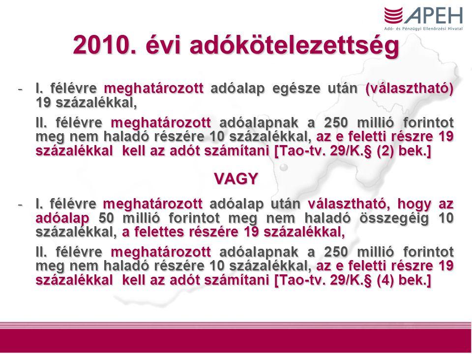7 2010. évi adókötelezettség -I.