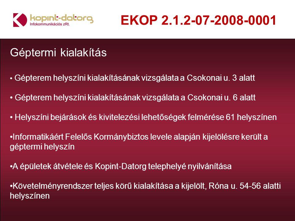 EKOP 2.1.2-07-2008-0001 Géptermi kialakítás Gépterem helyszíni kialakításának vizsgálata a Csokonai u. 3 alatt Gépterem helyszíni kialakításának vizsg