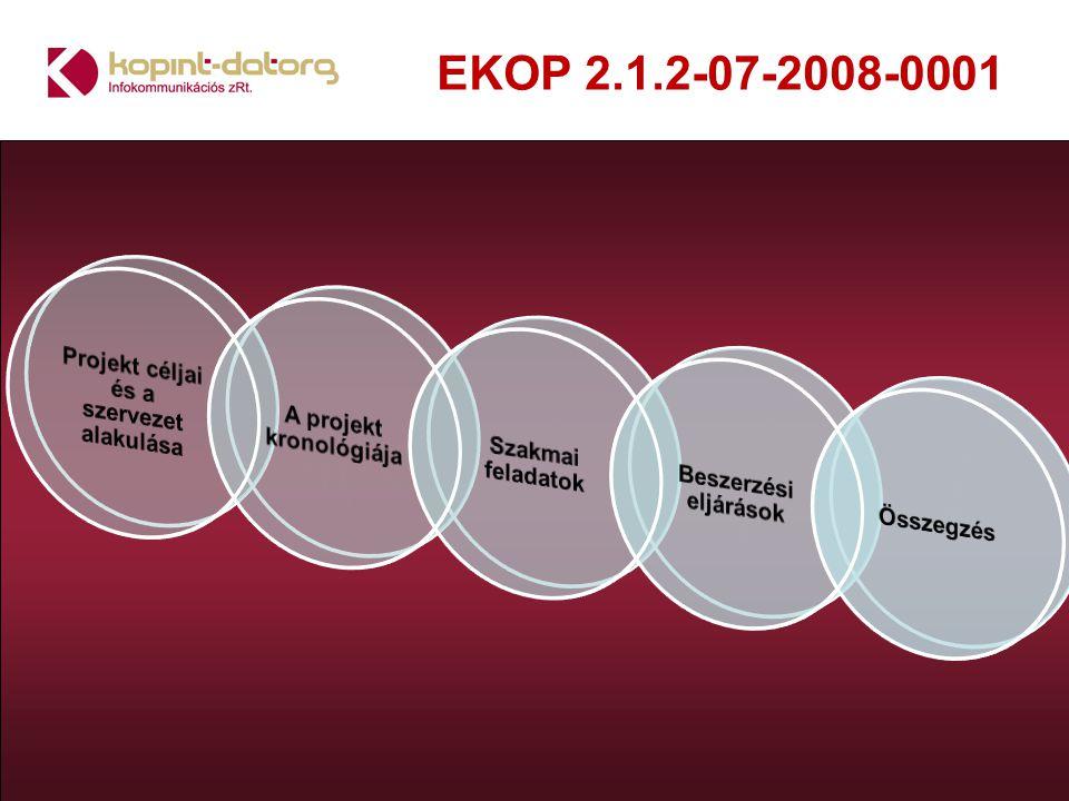 EKOP 2.1.2-07-2008-0001 Gépteremi kialakítás: Teljes körű alap-, tervrajz elkészítés és kivitelezés Teljes körű energetikai specifikáció és kivitelezés Teljes körű klímatechnikai tervezés és kivitelezés Teljes körű vagyon és biztonságtechnikai leírás és kivitelezés Teljes körű aktív és passzív tűzvédelem és kivitelezés Teljes körű eszköz és elrendezés tervezése és kivitelezés Teljes körű gyenge-, erősáramú tervezés és kivitelezés Teljes körű hálózati(network) nyomvonal tervezés és kivitelezés Teljes körű rack szekrény beépítési leírás és kivitelezés