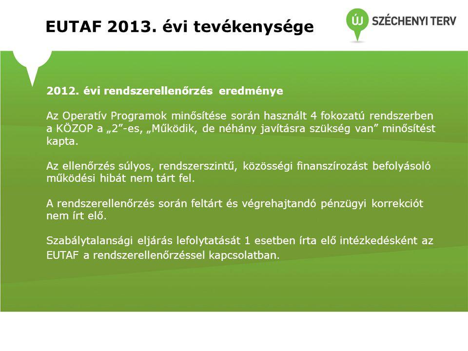 EUTAF 2013.évi tevékenysége Mintavételes ellenőrzések a 2013.