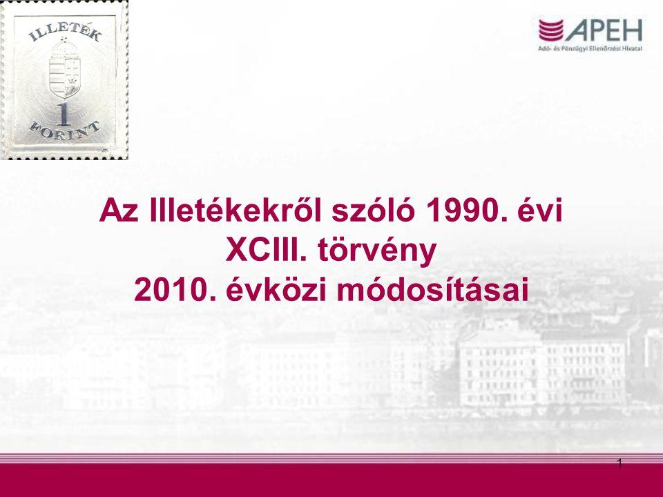 1 Az Illetékekről szóló 1990. évi XCIII. törvény 2010. évközi módosításai
