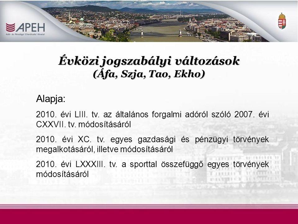 Évközi jogszabályi változások (Áfa, Szja, Tao, Ekho) Alapja: 2010.
