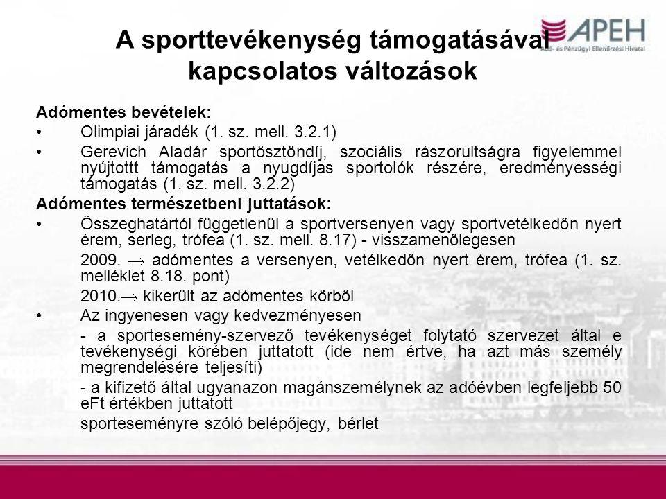 Adómentes bevételek: Olimpiai járadék (1.sz. mell.