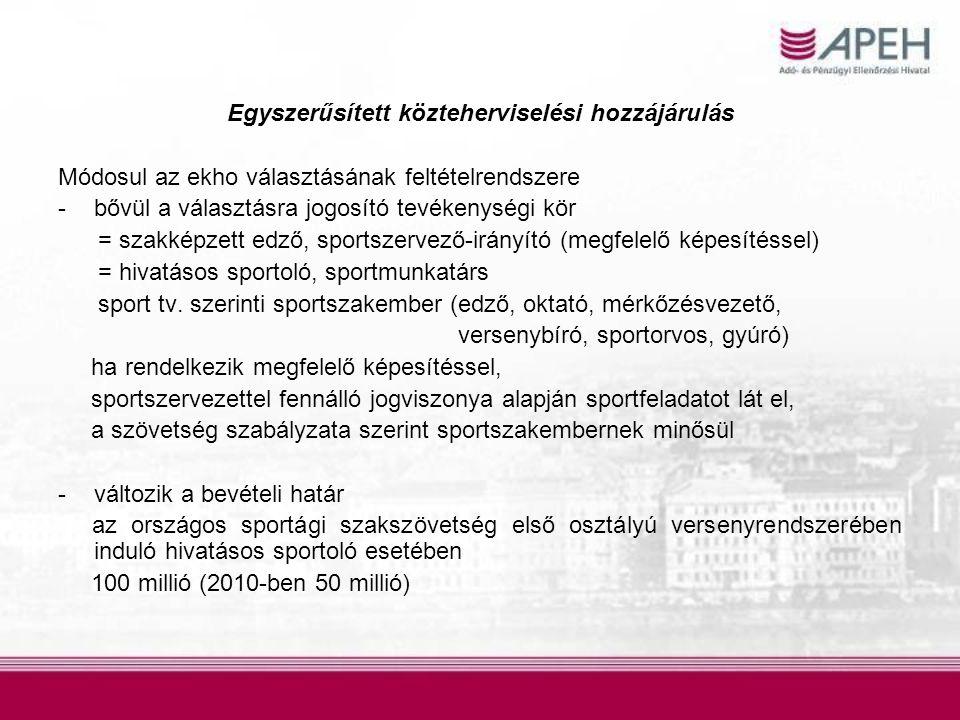 Egyszerűsített közteherviselési hozzájárulás Módosul az ekho választásának feltételrendszere -bővül a választásra jogosító tevékenységi kör = szakképzett edző, sportszervező-irányító (megfelelő képesítéssel) = hivatásos sportoló, sportmunkatárs sport tv.