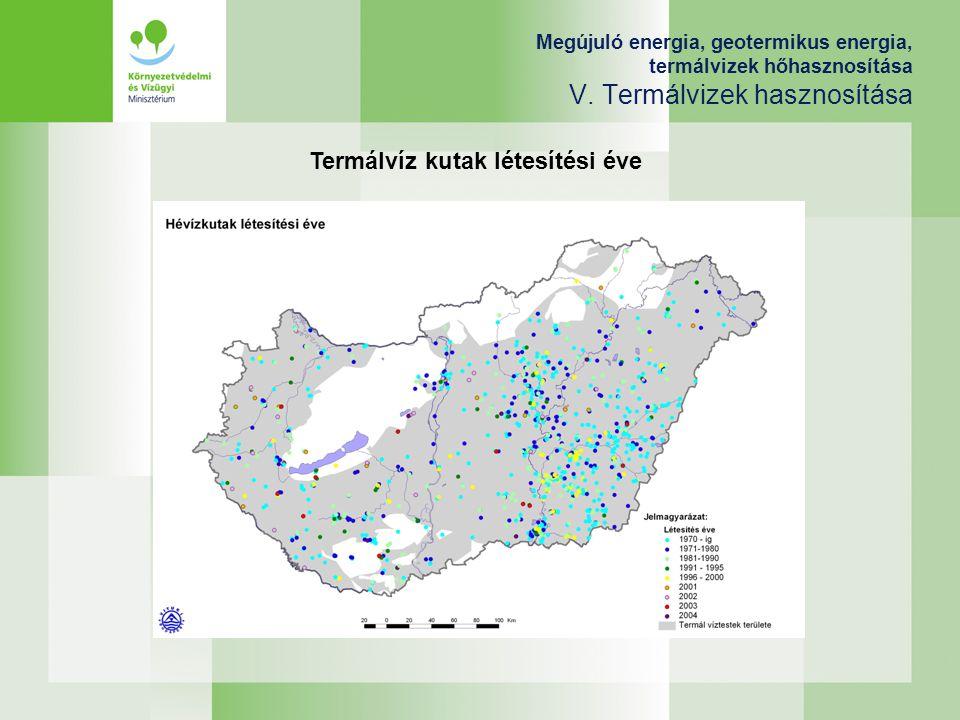 Megújuló energia, geotermikus energia, termálvizek hőhasznosítása V. Termálvizek hasznosítása Termálvíz kutak létesítési éve