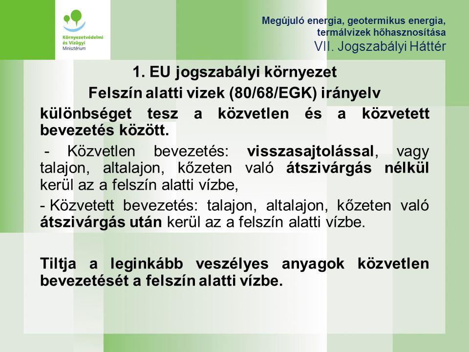 Megújuló energia, geotermikus energia, termálvizek hőhasznosítása VII. Jogszabályi Háttér 1. EU jogszabályi környezet Felszín alatti vizek (80/68/EGK)