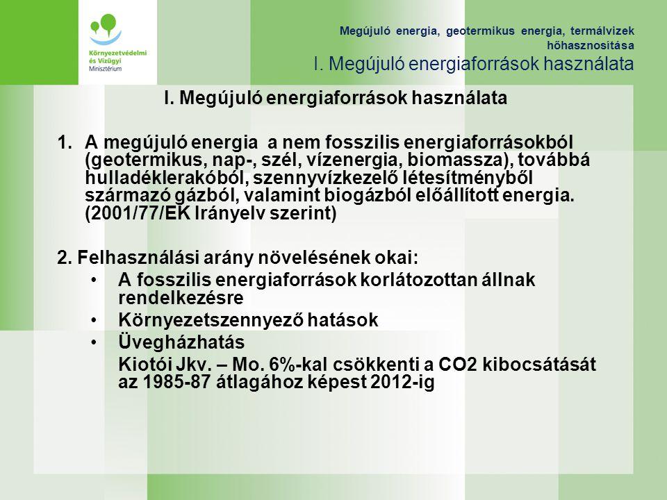 Megújuló energia, geotermikus energia, termálvizek hőhasznosítása I. Megújuló energiaforrások használata I. Megújuló energiaforrások használata 1.A me