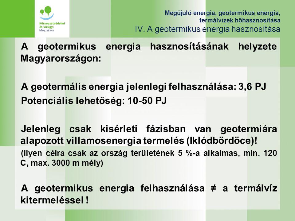 Megújuló energia, geotermikus energia, termálvizek hőhasznosítása IV. A geotermikus energia hasznosítása A geotermikus energia hasznosításának helyzet