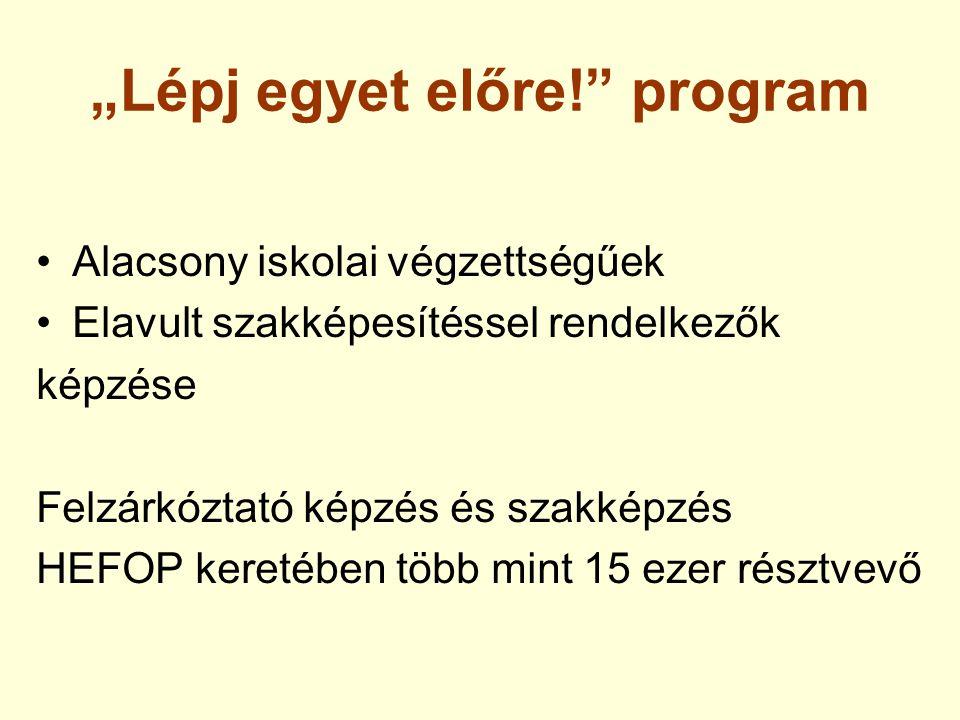 """""""Lépj egyet előre!"""" program Alacsony iskolai végzettségűek Elavult szakképesítéssel rendelkezők képzése Felzárkóztató képzés és szakképzés HEFOP keret"""