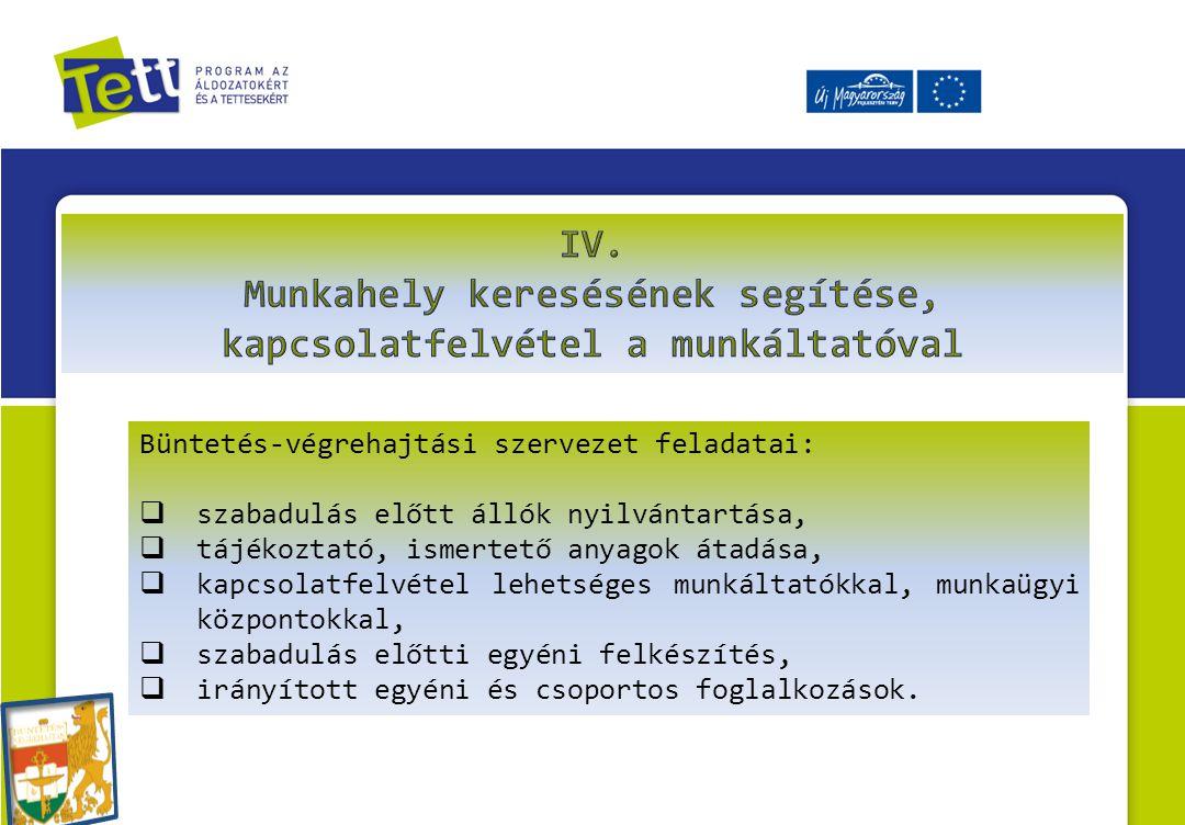 Büntetés-végrehajtási szervezet feladatai:  szabadulás előtt állók nyilvántartása,  tájékoztató, ismertető anyagok átadása,  kapcsolatfelvétel lehe