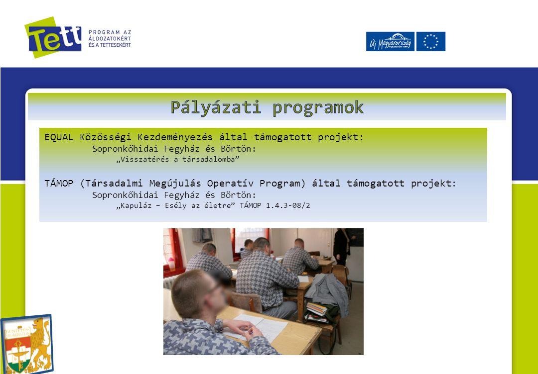 """EQUAL Közösségi Kezdeményezés által támogatott projekt: Sopronkőhidai Fegyház és Börtön: """"Visszatérés a társadalomba TÁMOP (Társadalmi Megújulás Operatív Program) által támogatott projekt: Sopronkőhidai Fegyház és Börtön: """"Kapuláz – Esély az életre TÁMOP 1.4.3-08/2"""