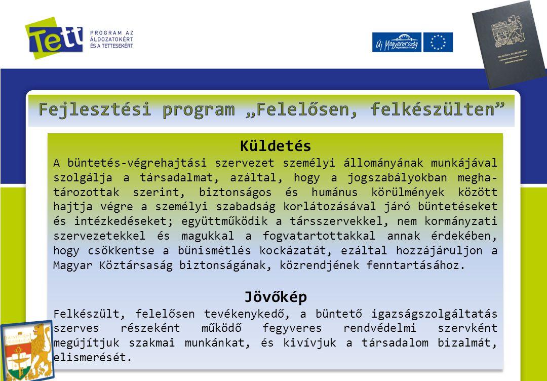Küldetés A büntetés-végrehajtási szervezet személyi állományának munkájával szolgálja a társadalmat, azáltal, hogy a jogszabályokban megha- tározottak szerint, biztonságos és humánus körülmények között hajtja végre a személyi szabadság korlátozásával járó büntetéseket és intézkedéseket; együttműködik a társszervekkel, nem kormányzati szervezetekkel és magukkal a fogvatartottakkal annak érdekében, hogy csökkentse a bűnismétlés kockázatát, ezáltal hozzájáruljon a Magyar Köztársaság biztonságának, közrendjének fenntartásához.