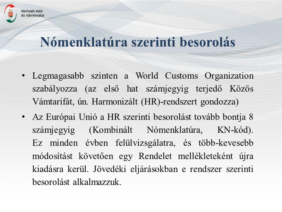 Nómenklatúra szerinti besorolás Legmagasabb szinten a World Customs Organization szabályozza (az első hat számjegyig terjedő Közös Vámtarifát, ún.