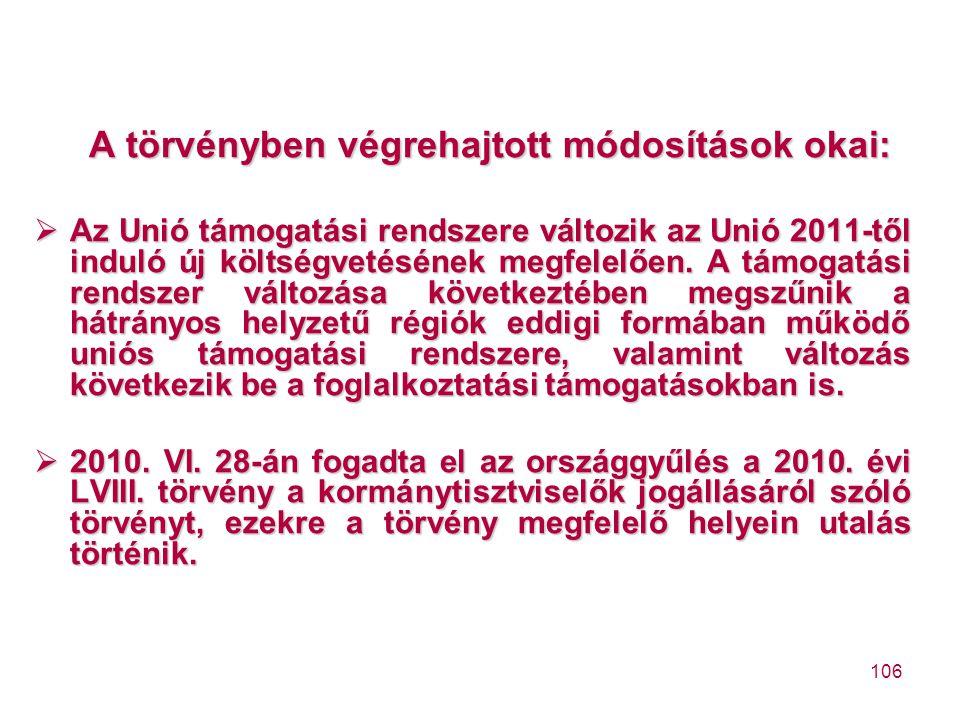 106 A törvényben végrehajtott módosítások okai:  Az Unió támogatási rendszere változik az Unió 2011-től induló új költségvetésének megfelelően. A tám