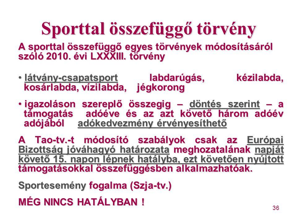 36 Sporttal összefüggő törvény A sporttal összefüggő egyes törvények módosításáról szóló 2010. évi LXXXIII. törvény látvány-csapatsport labdarúgás, ké