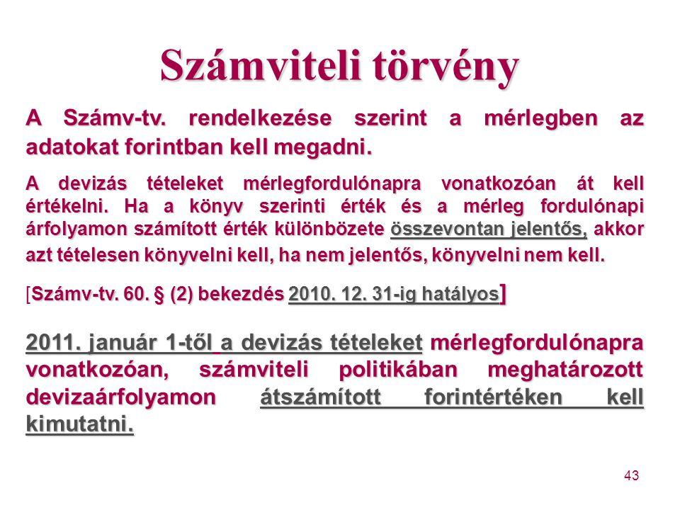 43 Számviteli törvény A Számv-tv. rendelkezése szerint a mérlegben az adatokat forintban kell megadni. A devizás tételeket mérlegfordulónapra vonatkoz