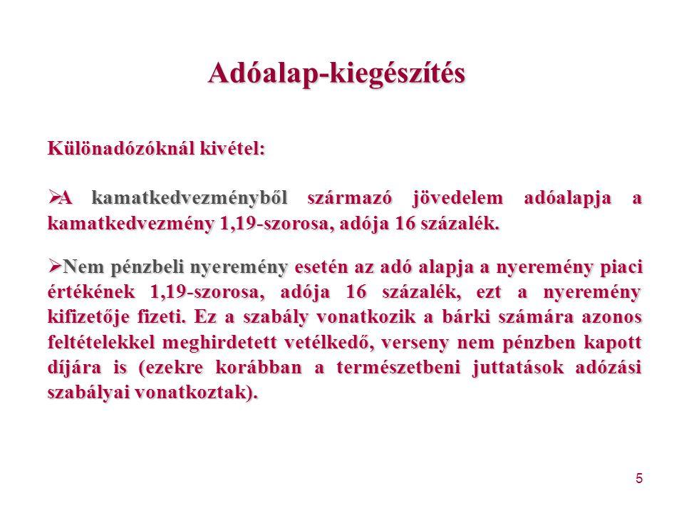 146 Egyes adókötelezettségek alóli mentesülés I.Kiegészül a 257/A.