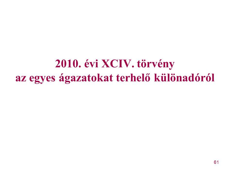 61 2010. évi XCIV. törvény az egyes ágazatokat terhelő különadóról