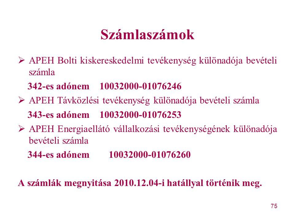 75 Számlaszámok  APEH Bolti kiskereskedelmi tevékenység különadója bevételi számla 342-es adónem 10032000-01076246  APEH Távközlési tevékenység külö