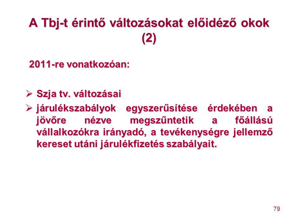 79 A Tbj-t érintő változásokat előidéző okok (2) 2011-re vonatkozóan:  Szja tv. változásai  járulékszabályok egyszerűsítése érdekében a jövőre nézve