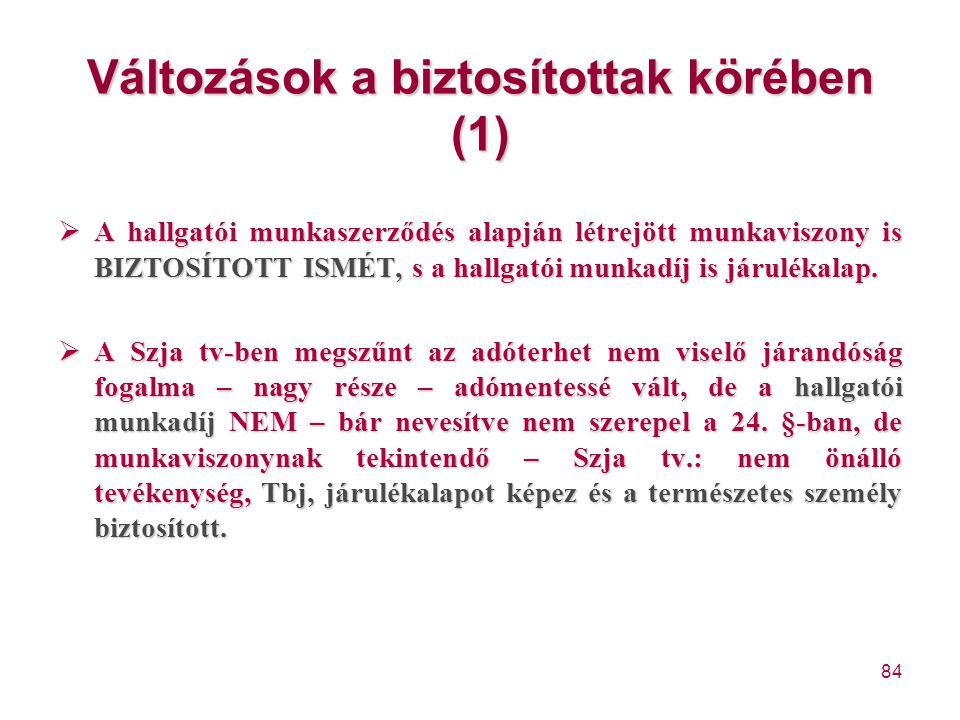 84 Változások a biztosítottak körében (1)  A hallgatói munkaszerződés alapján létrejött munkaviszony is BIZTOSÍTOTT ISMÉT, s a hallgatói munkadíj is