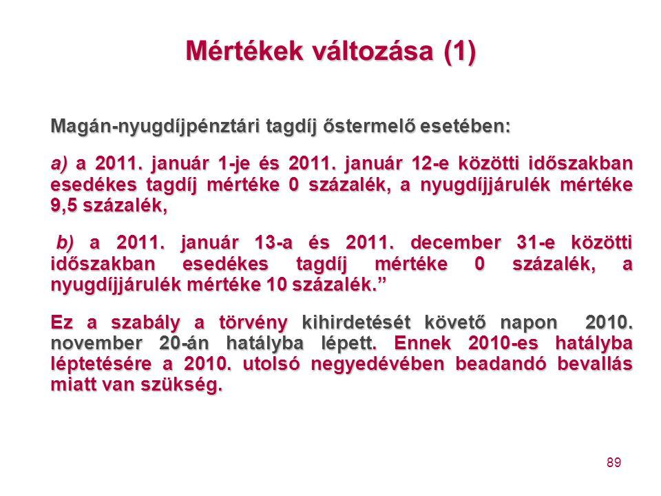 89 Mértékek változása (1) Magán-nyugdíjpénztári tagdíj őstermelő esetében: a) a 2011. január 1-je és 2011. január 12-e közötti időszakban esedékes tag