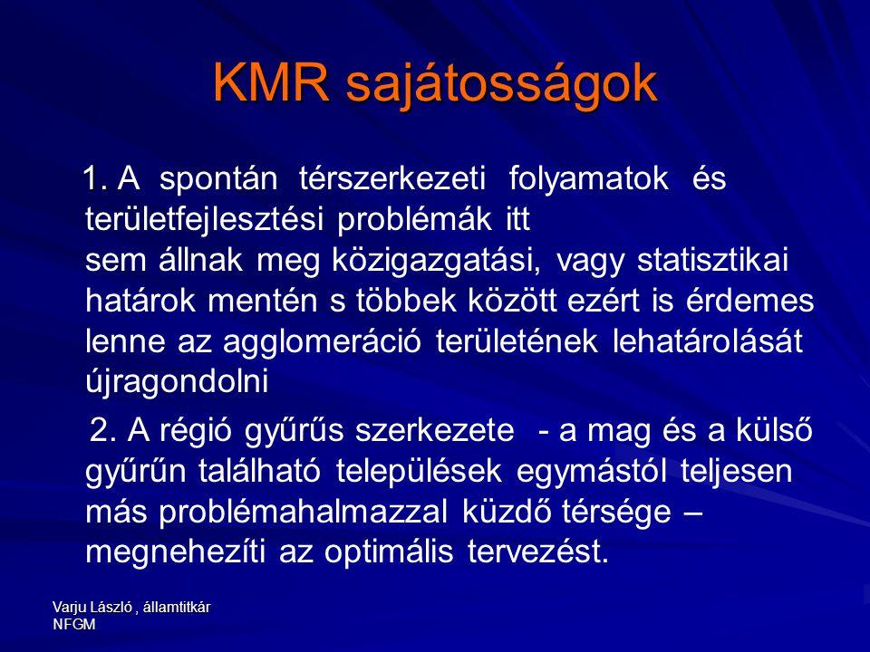 Varju László, államtitkár NFGM KMR sajátosságok 1. 1. A spontán térszerkezeti folyamatok és területfejlesztési problémák itt sem állnak meg közigazgat