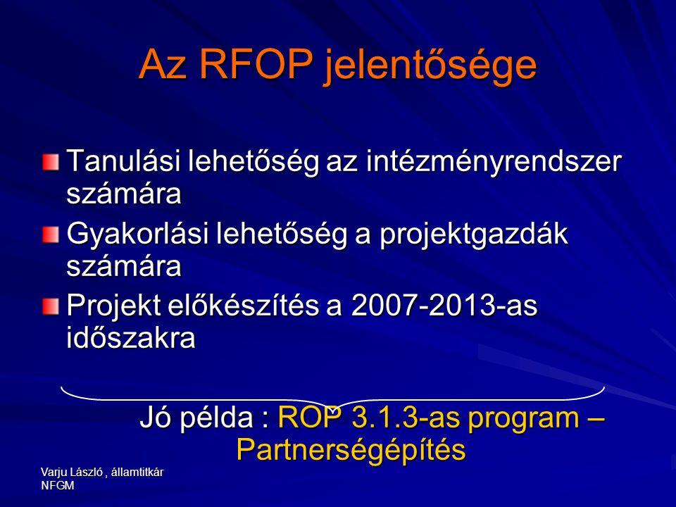 Varju László, államtitkár NFGM Az RFOP jelentősége Tanulási lehetőség az intézményrendszer számára Gyakorlási lehetőség a projektgazdák számára Projek