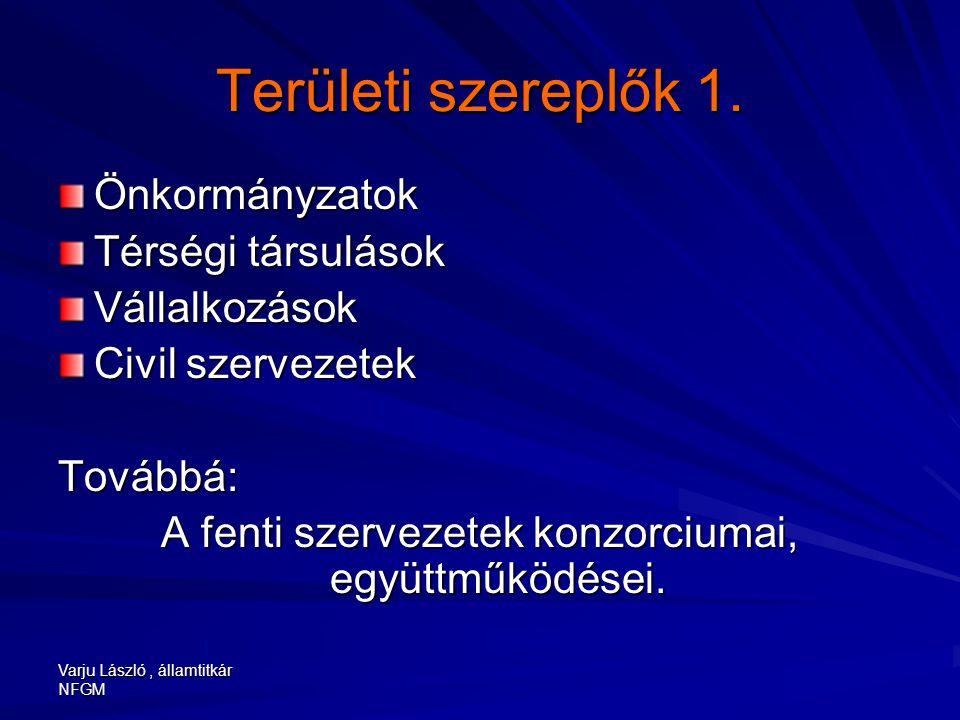 Varju László, államtitkár NFGM Területi szereplők 1. Önkormányzatok Térségi társulások Vállalkozások Civil szervezetek Továbbá: A fenti szervezetek ko