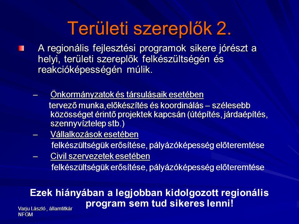 Varju László, államtitkár NFGM Területi szereplők 2. A regionális fejlesztési programok sikere jórészt a helyi, területi szereplők felkészültségén és