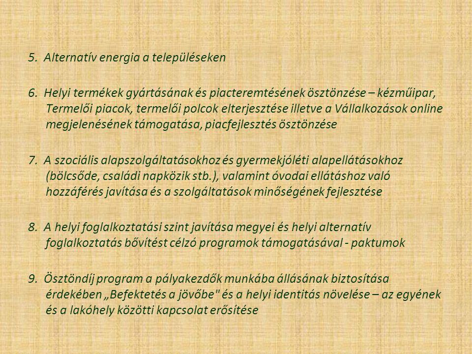 5. Alternatív energia a településeken 6. Helyi termékek gyártásának és piacteremtésének ösztönzése – kézműipar, Termelői piacok, termelői polcok elter